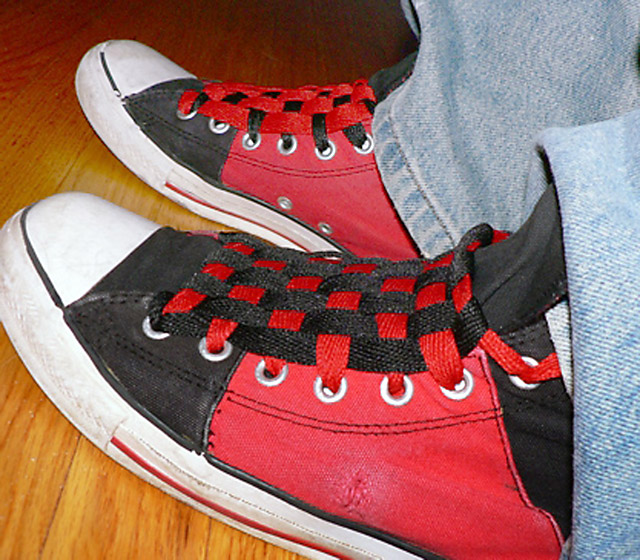 Red & black Converse sneakers with white trim and red & black Checkerboard Lacing (from Scott D)