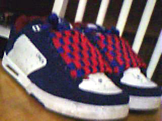 Navy blue Circa AL805s with white trim and red & blue Checkerboard Lacing (from Jamie H)