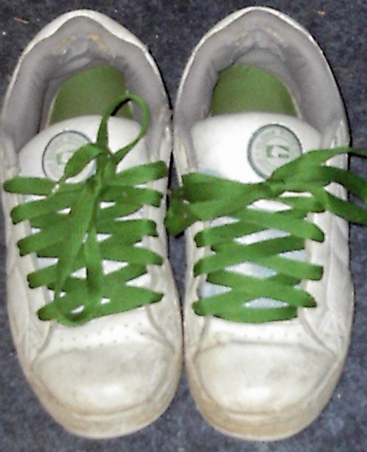 White Globe Focuses with green Criss Cross Lacing (from Casey)