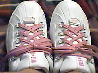 White Converse All-Stars with pink trim and pink Double Back Lacing (from Vy T)