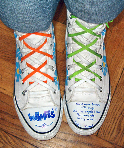 White boots with patterned blue, yellow & black trim and orange, white, lime green & white Double Lacing (from Wampisia)