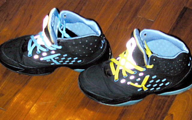 Black Melo 5.5s with cyan trim and cyan & yellow Hash Lacing (from Yuri T)