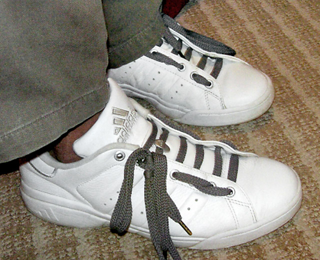 White Adidas sneakers with grey Hiking / Biking Lacing (from Kevin P)