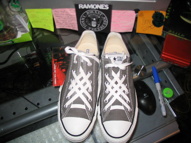 Grey Converse low-tops with black & white trim and white Lattice Lacing (from Katie J)