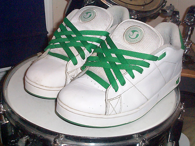 White DVS Shoe Company shoes with green Lattice Lacing (from Brian W)