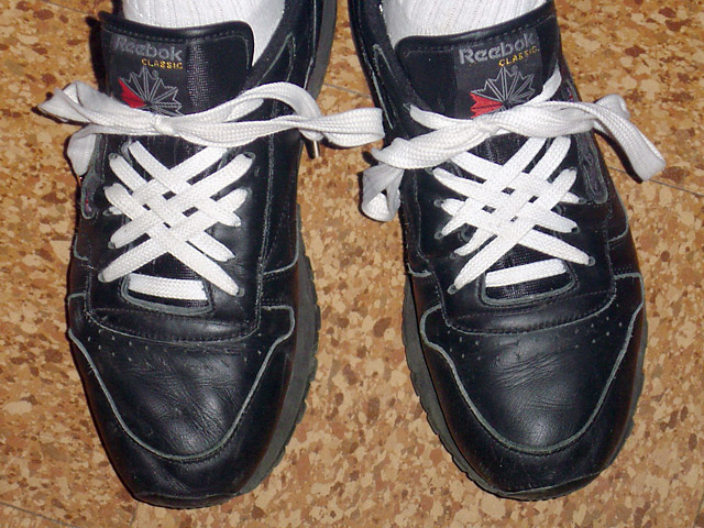 Black Reebok Classics with white Lattice Lacing (from Forrest K)