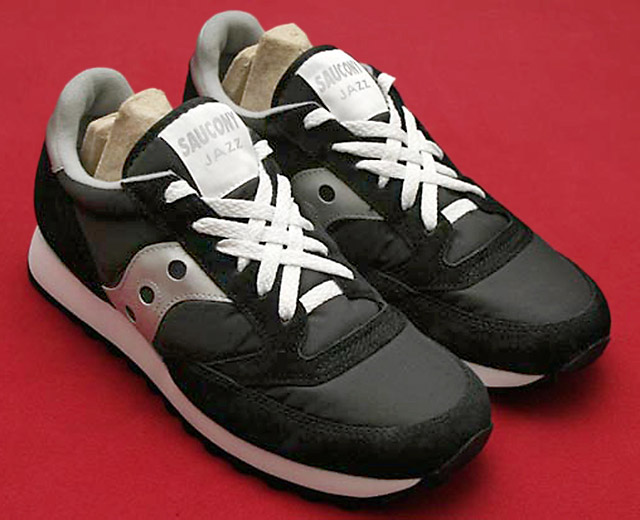 Black Saucony Jazz sneakers with white trim and white Lattice Lacing (from Rob B)