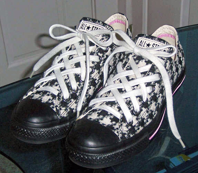 Patterned black & white Converse All-Stars with pink trim and white Lattice Lacing (from Heather W)