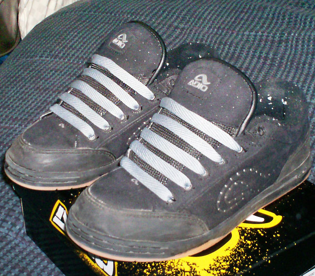 Black Adio shoes with pale blue Straight Bar Lacing (from Andy S)