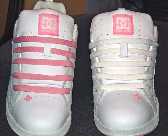 White DC shoes with pink trim and pink & white Straight Bar Lacing (from Alexis)