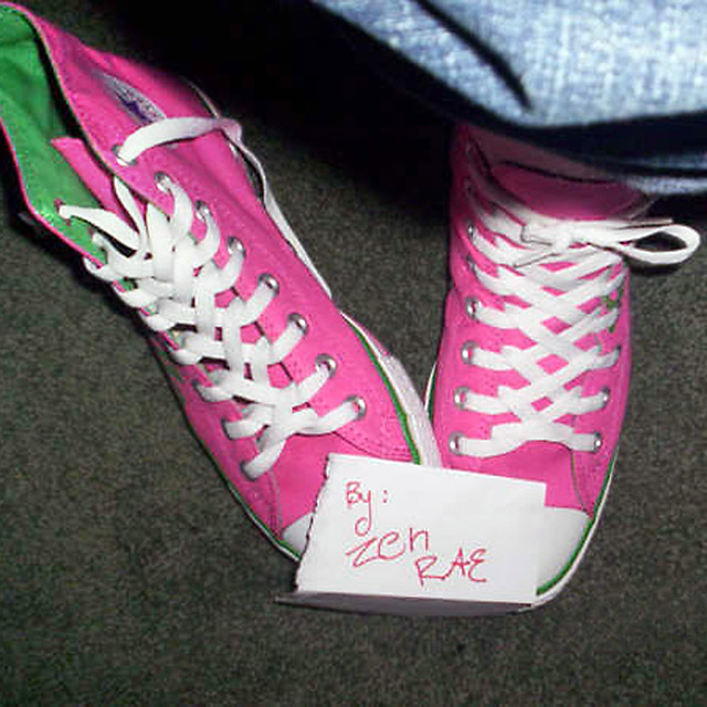 Pink Converse Hi-Tops with green & white trim and white Zipper Lacing (from Raeanne P)