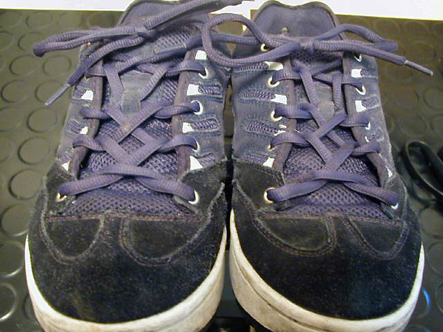 Purple & black sneakers with white trim and purple Zipper Lacing (from Dan L)