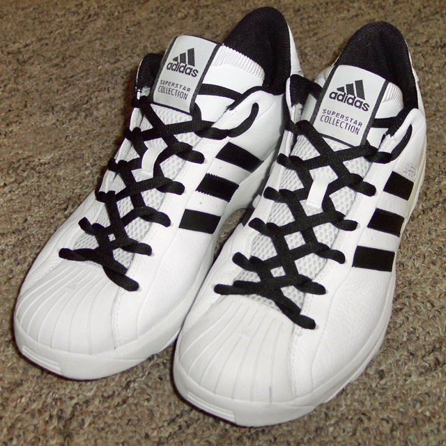 White Adidas Superstars with black trim and black Zipper Lacing (from Dan H)
