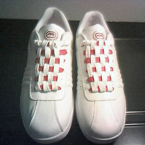 White Ecko sneakers with red trim and red & white Checkerboard Lacing (from Andrew B)