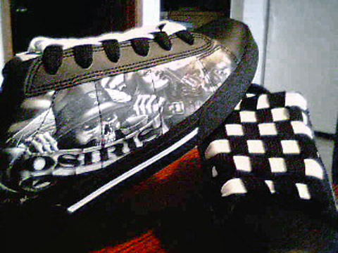 Black Osiris Abels with printed black & white trim and black & white Checkerboard Lacing (from Devin J)