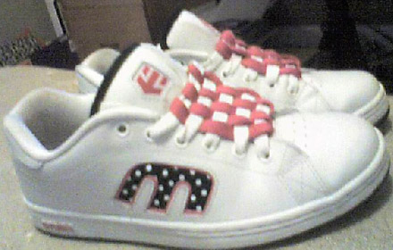 White Etnies sneakers with black & pink trim and pink & white Checkerboard Lacing (from Daphne P)