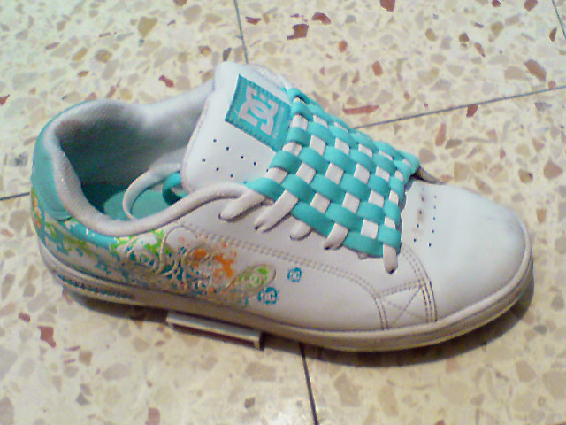 White DC shoes with multi-colored trim and cyan & white Checkerboard Lacing (from Daphne S)