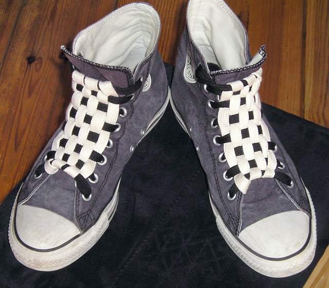 Grey Converse All-Stars with black & white trim and black & white Checkerboard Lacing (from Bart V)