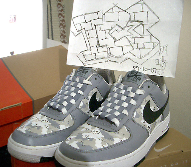 Grey & camouflage Nike Air Force Ones with black & white trim and grey & white Checkerboard Lacing (from IC3)