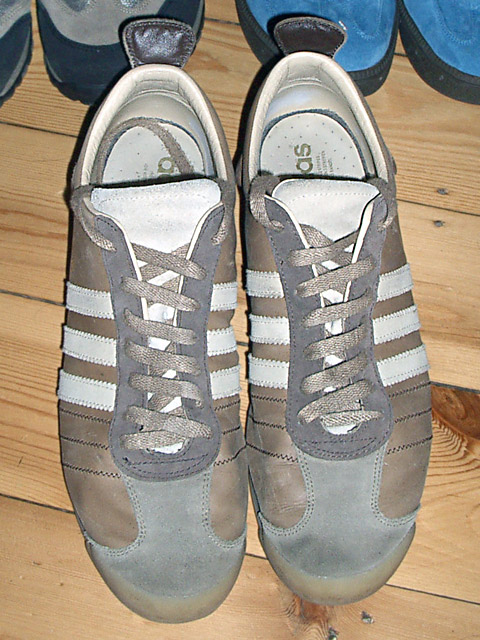 Brown Adidas Chile 62 Retros with grey & white trim and brown Double Helix Lacing (from Holger S)