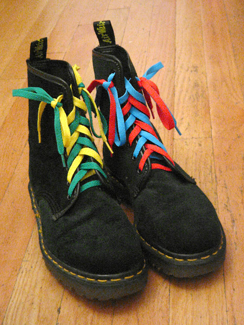 Black Doc Martens boots with yellow trim and green, yellow, red & cyan Double Lacing (from Jeff R)