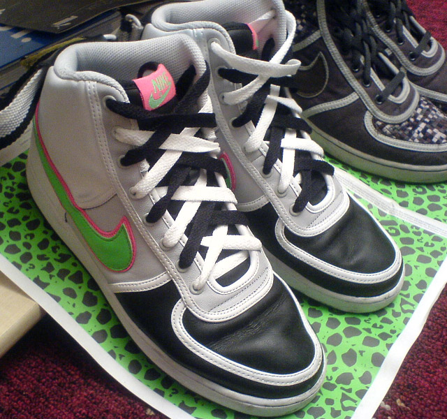 Black & white Nike Vandals with fluoro green & pink trim and black & white Double Lacing (from Tom P)