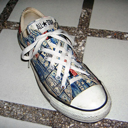 Multi-colored Converse All-Stars with black & white trim and white Lattice Lacing (from Philip F)