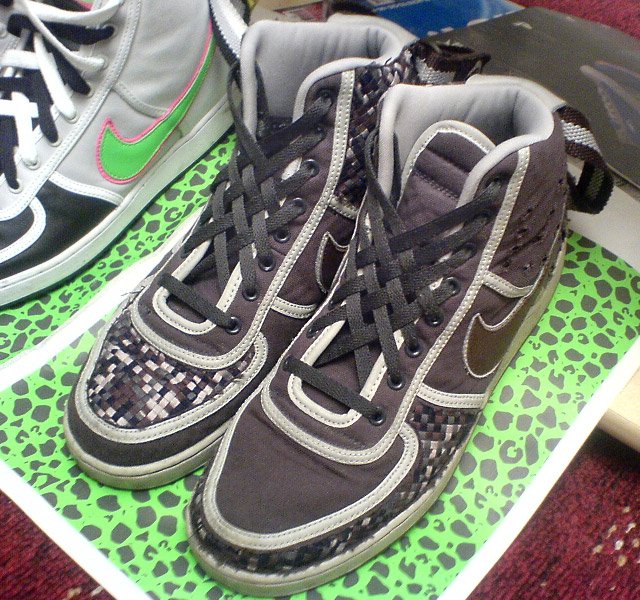 Patterned brown, black & white Nike Vandals with black Lattice Lacing (from Tom P)