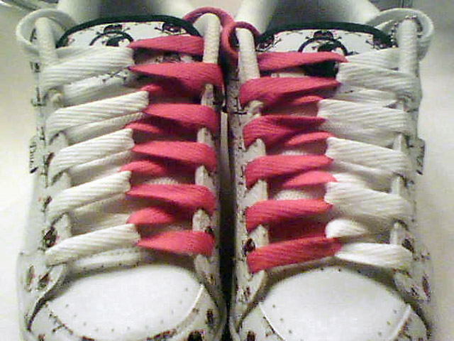 White sneakers with patterned black trim and red & white Loop Back Lacing (from Bianca N)