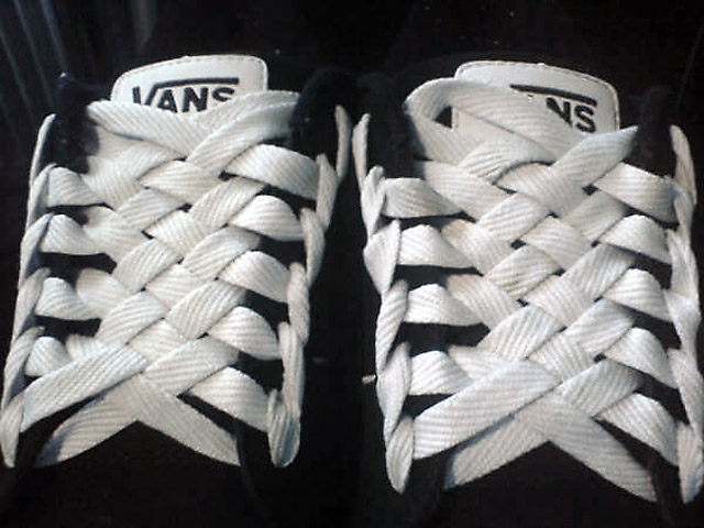 Patterned black & white Vans sneakers with white Spider Web Lacing (from Hamid A-J)