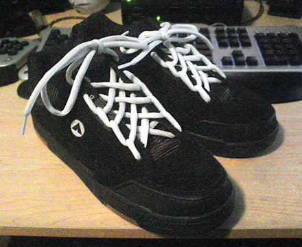Black Airwalk Flips with white Spider Web Lacing (from Cory)