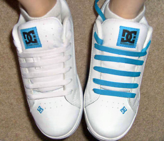 White DC shoes with cyan trim and white & cyan Straight Bar Lacing (from Kayla H)