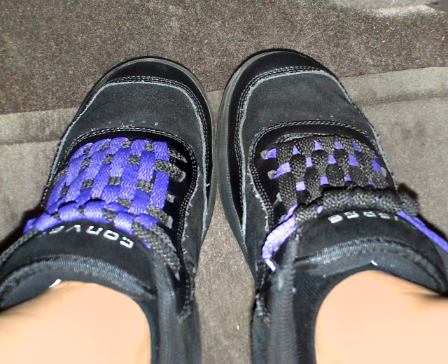 Black Converse sneakers with purple & black Checkerboard Lacing (from Kalyn K)