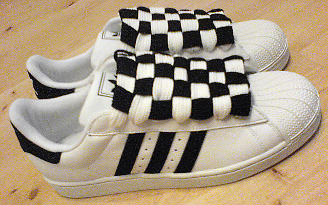White Adidas Superstar IIs with black trim and black & white Checkerboard Lacing (from John T)