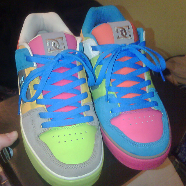 Multi-colored DC Active x Mismatch Pures with blue Display Shoe Lacing (from Jamie S)