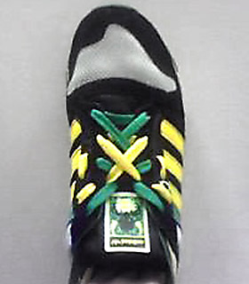 Black & white Adidas ZX 600s with yellow & green trim and fluoro yellow & green Double Lacing (from Erin C)