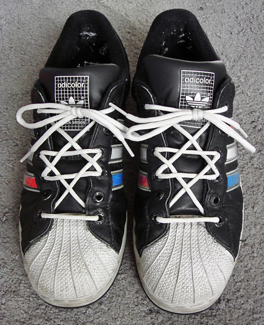 Black & white Adidas Adicolors with red & cyan trim and white Hexagram Lacing (from Jeff R)