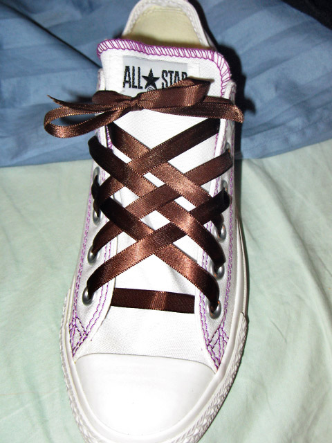 White Converse All-Stars with purple trim and brown Lattice Lacing (from Laurissa M)