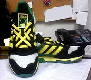 Black & white Adidas ZX 600s with yellow & green trim and fluoro yellow & green Lattice Lacing (from Erin C)