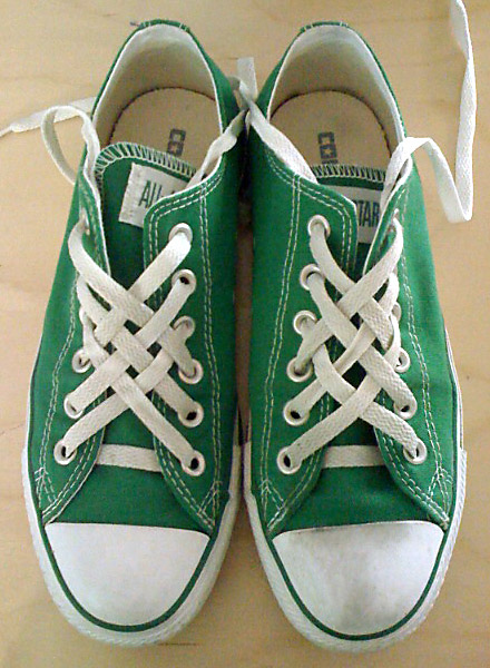 Green Converse All-Stars with white trim and white Lattice Lacing (from Holly)