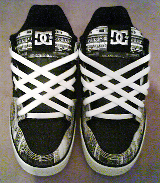 Black DC sneakers with patterned black & white trim and white Lattice Lacing (from James W)