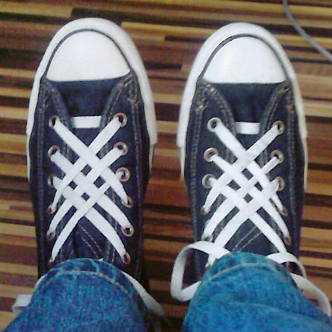 Denim Converse Hi-Tops with white trim and white Lattice Lacing (from Felix S)