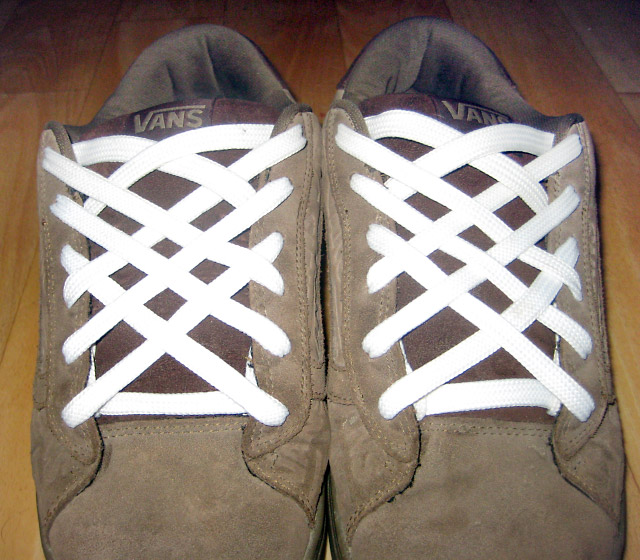 Brown Vans sneakers with white Lattice Lacing (from Alex W)