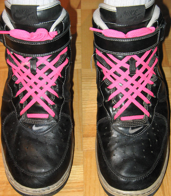Black Nike Air Force Ones with white trim and magenta Lattice Lacing (from Jesse J)