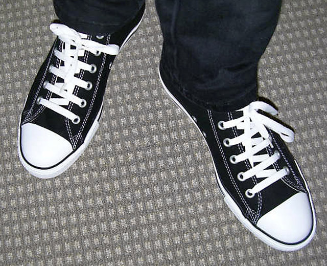 Black Converse Hi-Tops with white trim and white Riding Boot Lacing (from Preston)