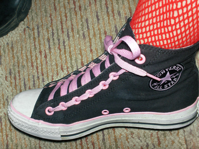 Black Converse All-Stars with white & pink trim and pink Train Track Lacing (from Ali)