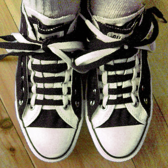 Black & white Converse Double Uppers with black & white Train Track Lacing (from Vinh N)