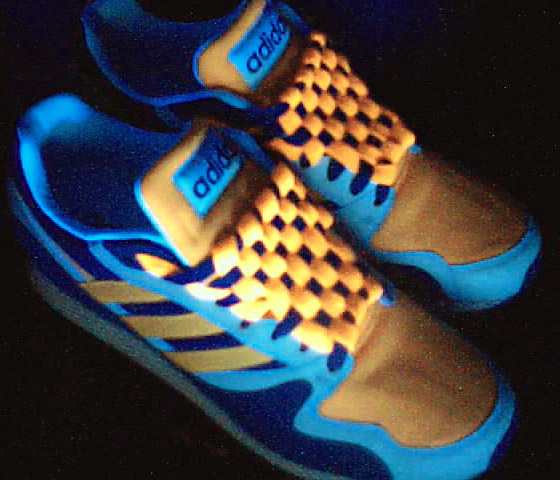 Orange, blue & cyan Adidas sneakers with orange & blue Checkerboard Lacing (from Kari H)