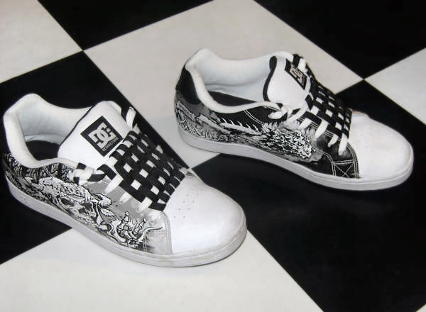 Patterned black & white DC sneakers with black & white Checkerboard Lacing (from Ryan L)