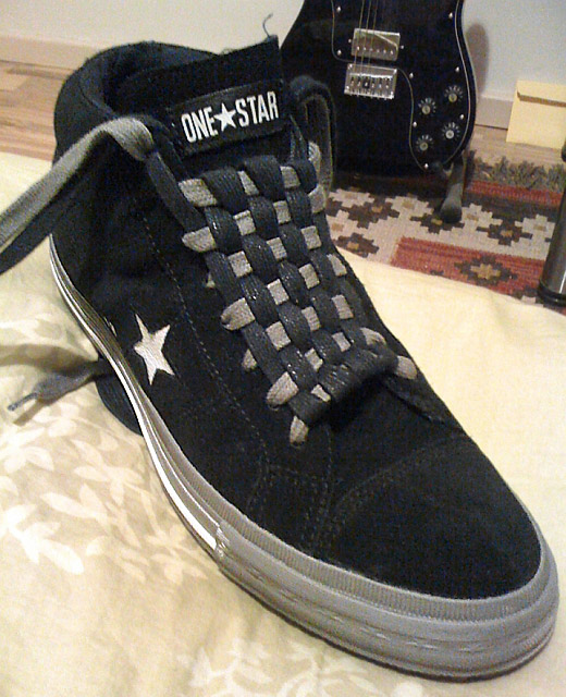 Black Converse One Stars with white trim and black & grey Checkerboard Lacing (from Martin G)